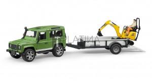 Bruder Land Rover Defender egytengelyű utánfutóval és JCB markolóval (02593)