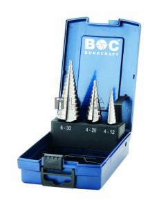 Bohrcraft 3 részes lépcsős lemezfúró készlet HSS d4-30 STB3-K