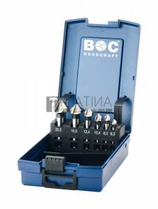 Bohrcraft 6 részes kúpsüllyesztő készlet 90° három vágóélű HSS d6,3-20,5 KS6-K