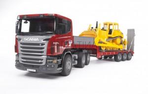 Bruder Scania R-szériás alacsony-rakodó teherautó CAT bulldózerrel (03555)