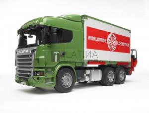 Bruder Scania R-szériás teherautó rakodófallal és targoncával (03580)