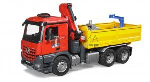 Bruder MB Arocs épitőipari teherautó daruval, markolóval, palettával (03651)