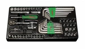 Hans 62 részes 1/4  dugókulcs készlet TT-22 fiókmodul