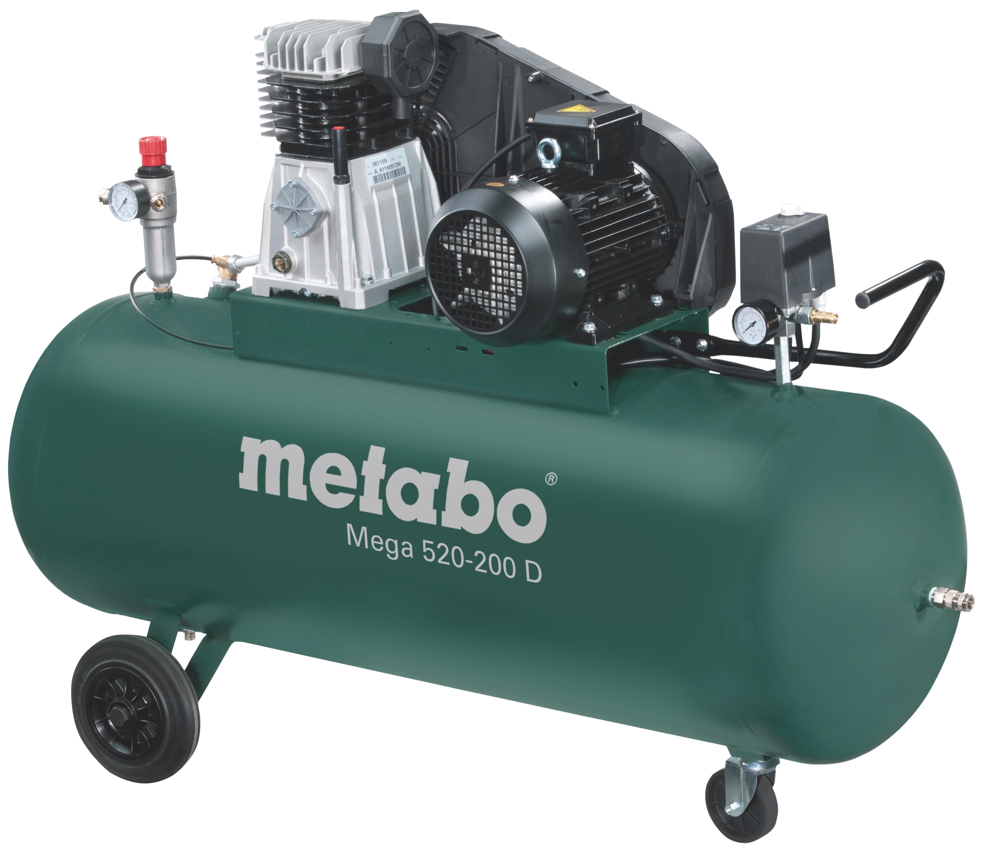 Metabo Mega 520-200 D kompresszor 200l, 3kW, 10bar