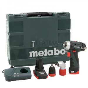 Metabo PowerMaxx BS Quick Pro akkus fúró- csavarbehajtó (2,0Ah + 4,0Ah) + sarokadapter