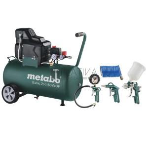 Metabo Basic 250-50 W OF olajmentes kompresszor + LPZ 4 levegős szett
