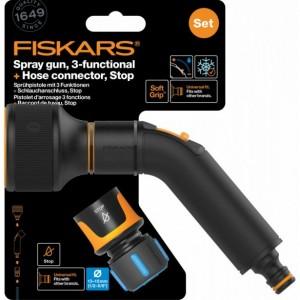 Fiskars Comfort 3 funkciós öntözőfej+ gyorscsatlakozó 13 MM (1/2) stop