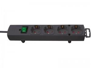 Comfort-Line 4-es elosztó 2,0m H05VV-F 3G1,5 fekete