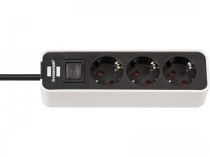 Ecolor 3-as elosztó 1,5m 3x1,5 VV fehér/fekete kapcsolóval