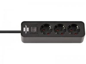 Ecolor 3-as elosztó 1,5m 3x1,5 VV fekete kapcsolóval