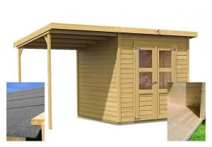 KARIBU MERSEBURG 4 fából készült kerti ház + egy menedéket 166 cm (14519) SET