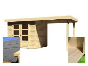 KARIBU ASKOLA 3 fából készült kerti ház + egy menedéket 240 cm (14441) SET