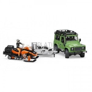 Bruder Land Rover Defender kombi utánfutóval és snowboarddal (02594)