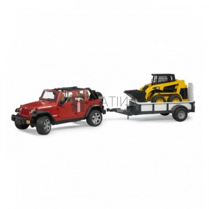 Bruder Jeep Wrangler Unlimited Rubicon utánfutóval és mini rakodóval (02925)