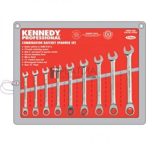Kennedy 9 részes racsnis csillag-villás kulcskészlet (10-19mm)
