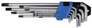 BGS Technic Derékszögű kulcs készlet | extra hosszú | T-profil (Torx) furattal T10 - T50 | 9 darabos
