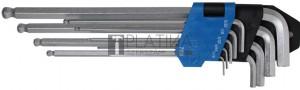 BGS Technic Derékszögű kulcs készlet | coll méretek | Belső hatszögletű/Belső hatszögletű gömbfejes 1/16  - 3/8  | 9 darabos
