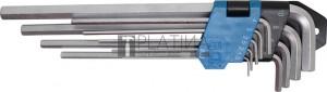 BGS Technic Derékszögű kulcs készlet | extra hosszú | Belső hatszögletű 1,5 - 10 mm | 9 darabos
