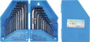 BGS Kraftmann Derékszögű kulcs készlet | coll méret/metrikus | belső hatszögletű | 30 darabos