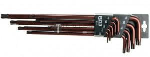 BGS Technic Derékszögű kulcs készlet | extra hosszú | T-profil (Torx) gömbfejes T10 - T50 | 9 darabos