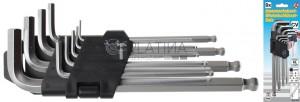 BGS Kraftmann Derékszögű kulcs készlet | belső hatszögletű/belső hatszögletű gömbfejes 1,5 - 10 mm | 9 darabos