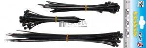 BGS Kraftmann Kábelkötegelő-készlet | fekete | 100 - 200 mm | 75 darabos