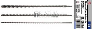 BGS Kraftmann Kőzetfúró-készlet | SDS-szár | 12 / 16 / 24 mm | 3 darabos