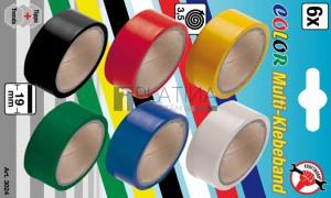 BGS Kraftmann Szigetelőszalag színes | 19 x 3,5 m | 6 darabos