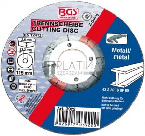BGS Technic Vágókorong - fém | Ø 115 x 2,5 x 22,2 mm | Típus: 42
