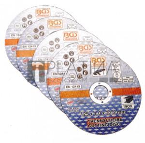 BGS Technic Vágókorongok rozsdamentes acélhoz | Ø 125 x 1,0 x 22,2 mm | 5 darabos