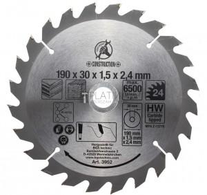 BGS Kraftmann Keményfém körfűrészlap | Ø 190 x 30 x 2,5 mm | 24 fogú