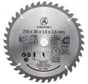 BGS Kraftmann Keményfém körfűrészlap | Ø 210 x 30 x 2,6 mm | 40 fogú