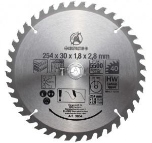 BGS Kraftmann Keményfém körfűrészlap | Ø 254 x 30 x 3,2 mm | 40 fogú
