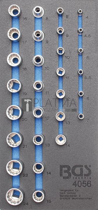 BGS Technic Műhelykocsi-betét 1/3: Dugókulcsok   tizenkétszögletű   29 darabos