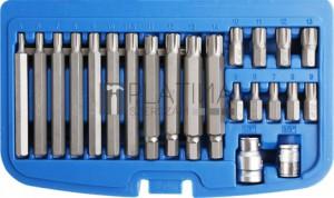 BGS Technic Behajtófej készlet | Külső hatszögletű 10 mm (3/8) | Ékprofil (Ribe) | 22 darabos