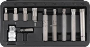 BGS Kraftmann Csavarhúzó-behajtófej készlet | rövid / hosszú | belső bordázattal (XZN) | 11 darabos