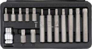 BGS Kraftmann Behajtófej készlet | rövid / hosszú | külső hatszögletű kulcsnyílású hajtás 10 mm (3/8 ) | T-profil (Torx) | 15 darabos