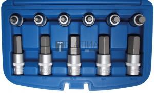BGS Technic Behajtófej-készlet | 12,5 mm (1/2) | Belső hatszögletű coll méretek 7/32 - 7/8 | 12 darabos