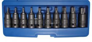BGS Technic Levegős dugókulcskészlet | 12,5 mm (1/2 ) | T-profil (Torx) T20 - T70 | 10 darabos