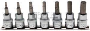 BGS Technic Behajtófej-készlet | 10 mm (3/8) | Belső hatszögletű | 7 darabos