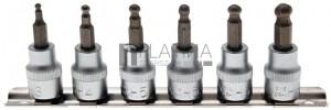 BGS Technic Behajtófej-készlet | 10 mm (3/8) | Belső hatszögletű gömbfejes 3 - 8 mm | 7 darabos