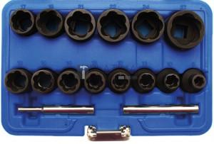 BGS Technic Speciális dugókulcskészlet/Csavarkiszedő   12,5 mm (1/2)   8 - 27 mm   16 darabos