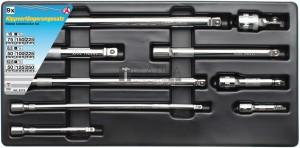 BGS Kraftmann Billenős hosszabbító készlet | 6,3 mm (1/4 ) / 10 mm / (3/8 ) / 12,5 mm (1/2 ) | 9 darabos