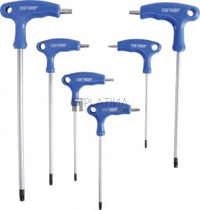 BGS Kraftmann Csavarhúzó készlet T-fogantyúval és oldalpengével | T-profil (Torx) furattal | T10 - T40 | 6 darabos