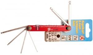 BGS Kraftmann Összecsukható kulcs | belső hatszögletű gömbfejes 1,5 - 6 mm | 7 darabos