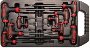 BGS Kraftmann Csavarhúzó készlet T-fogantyúval és oldalpengével | T-profil (Torx) furattal | T10 - T50 | 9 darabos