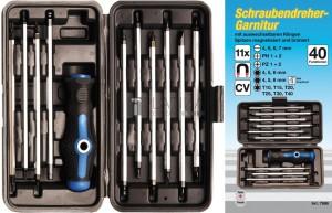 BGS Kraftmann Csavarhúzó készlet cserélhető pengékkel | 11 darabos