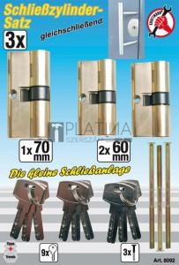 BGS Kraftmann Sárgaréz zárbetét készlet | egyforma kulcs | 15 darabos