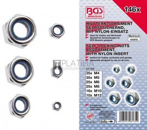 BGS Technic Hatszögletű csavaranya-készlet | önbiztosító | 146 darabos