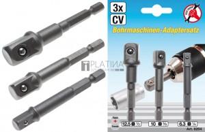 BGS Kraftmann Adapterkészlet fúrógépekhez | külső hatszögletű kulcsnyílású hajtás 6,3 mm (1/4 ) | 6,3 mm (1/4 ) / 10 mm (3/8 ) / 12,5 mm (1/2 ) | 3 darabos